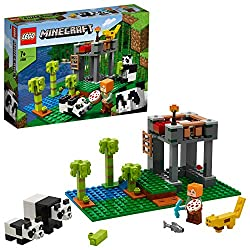 The nursery features a hut for the pandas with a rooftop bed for a tired baby and a small pond with waterfall, trees and flowers Includes 2 buildable pandas, Alex and Ocelot; new-for-January-2020, Mom and baby panda characters sit, stand and move the...