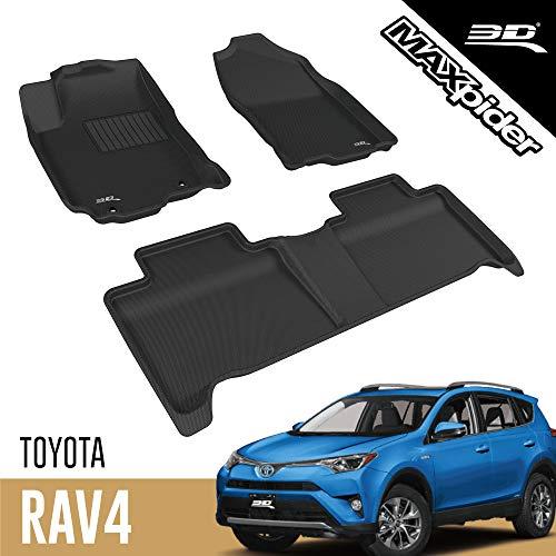 3D MAXpider L1TY20801509 Toyota RAV4 Hybrid 2016–2018 maßgeschneiderte Allwetter-Auto-Fußmatten, Kagu-Serie (1. und 2. Reihe, schwarz)