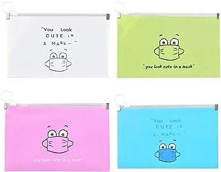 MuSheng(TM) 4pcs Sac en Plastique Portable Propre pour Masques jetables,Filtre Boîte de Rangement pour écran Facial Boîte,...