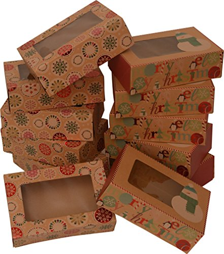 """Christmas Doughnut and Cookie gift boxes; rectangle with clear window; brown kraft with hot stamp Christmas designs; 6 of each print; set of 12 boxes (12 x 3.75 x 2.75) (12, 8.6"""" x 6"""" x 2.75"""")"""