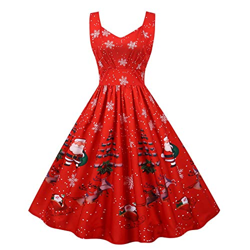 SEWORLD Women Christmas 1950s Floral Rockabilly Sleeveless Retro Vintage Swing Cocktail Housewife Evening Party Dress Red