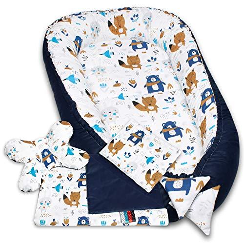 Palulli Babynestchen, 5-teiliges Set, hohe Qualität, 90x50cm, mit Kuscheldecke, Kissen und herausnehmbarer Einlage, Baumwolle, Oeko-Tex-Standard100