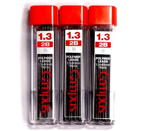 Kokuyo Campus Mechanical Pencil Lead, 1.3mm, 2B (PSR-C2B13N), 16 Leads ×3 Pack/total 48 Leads (Japan Import)