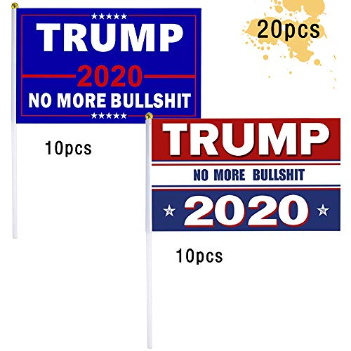 Pannow 20 Pack Hand Held Trump Flags,President Donald Trump Flags 2020 No More Bullshit Flag Small Mini Flag on Stick for Election Day, Parades -  F1288S0JGDX250RPXI