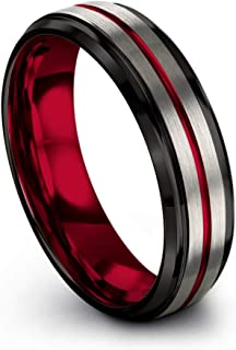 Tungsten Carbide Wedding Band Ring 6mm for Men Women with Green Red Fuchsia Copper Teal Blue Purple Black Grey Center Line and Step Bevel Edge Black Grey Brushed Polished