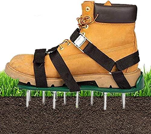 Aunus Zapatos Aireador de Césped Escarificador de Césped Zapatos Jardín de Césped Escarificador Manual con 6 Correas Ajustables para Césped, Jardín