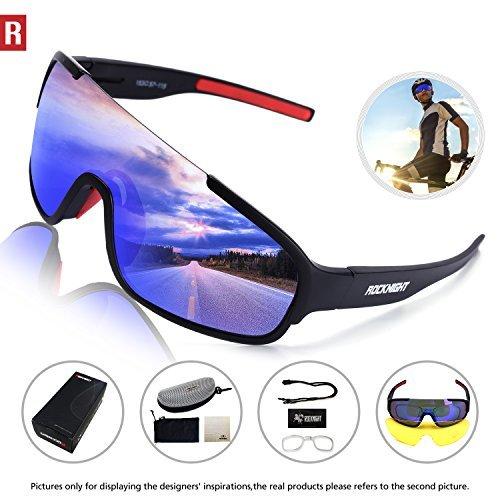 e3a3412aca1a7 ROCKNIGHT REVO Sports Sunglasses Men Women 2 Interchangeable Lenses Cycling  Running Driving Baseball Glasses UV Protection