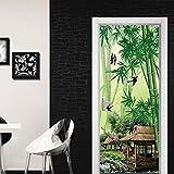 BARFPY Adhesivo para puerta con efecto 3D Paisaje de bosque de bambú verde Autoadhesiva Vinilo Removible de Arte Puerta Pegatina Pared Murales para dormitorio Cocina Sala de Baño Decoración del Hogar