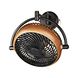 Industrial Wall Mount Fan 8 Inches Wall Mount Ceiling Fan with Pull Chain Control 2-Speed Adjustable Motor Direction, UL Listed, Black/Walnut Finished