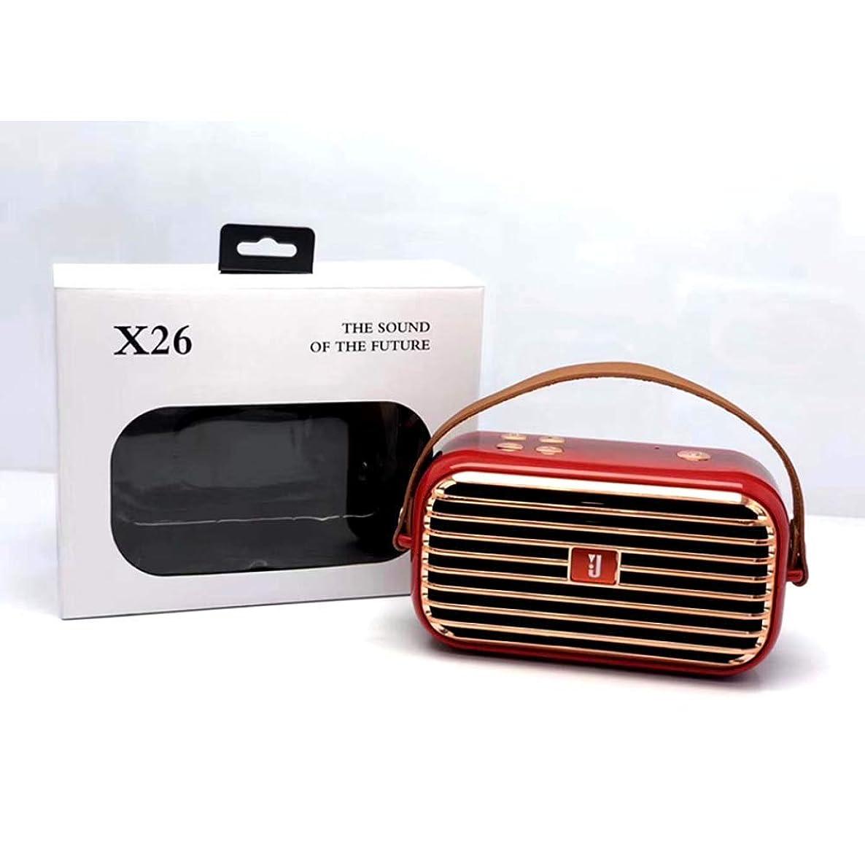 Retro Boom Box Radio Style Portable Bluetooth Speaker X26 (Red)
