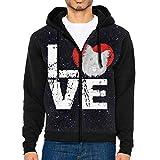 JUN7MING HAT Men's Sleeve Hoodie Cairn Terrier Dog Lovers Zip Up Sportswear Jackets Black