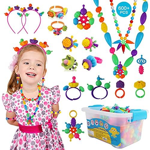 KIDDYCOLOR - Kit di perline pop per ragazze, 600 pezzi, kit per la creazione di gioielli per bambini, kit fai da te per braccialetti e collane, fasce per capelli e anelli