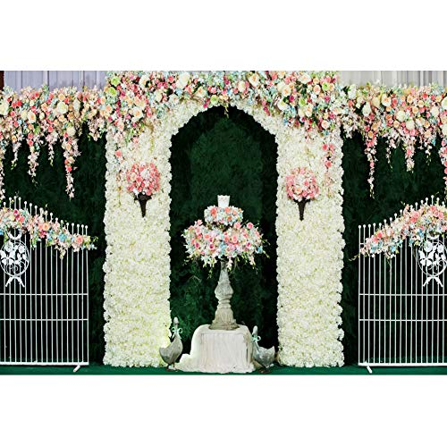 OERJU 12x10ft Vintage Bricks House Backdrop Spring Floral Wedding Ceremony Photography Background Bridal Shower Cake Table Banners Kids Adults Artistic Portrait Photo Props YouTube Video Shoot Wall