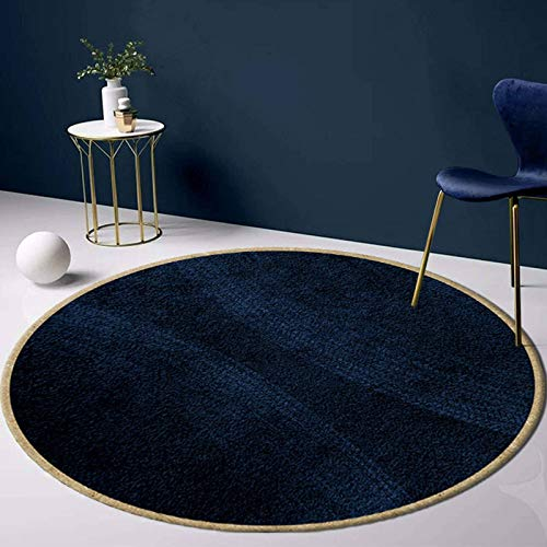 Coral Fleece Area Rug, Ultra Soft Comfy Non-Slip Rug Solid Color Washable Home Decor Carpet Round Floor Protector Great for Living Room Dining Room Balcony-Diameter:140cm(55inch)-Blue
