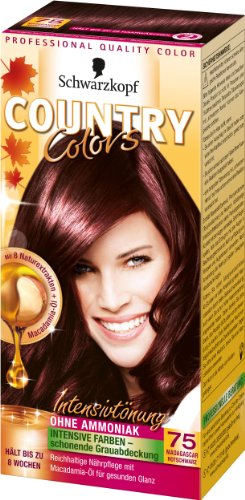 Schwarzkopf Country Colors Intensivtönung, 75 Madagaskar Schwarz Rot, 3er Pack (3 x 123 ml)