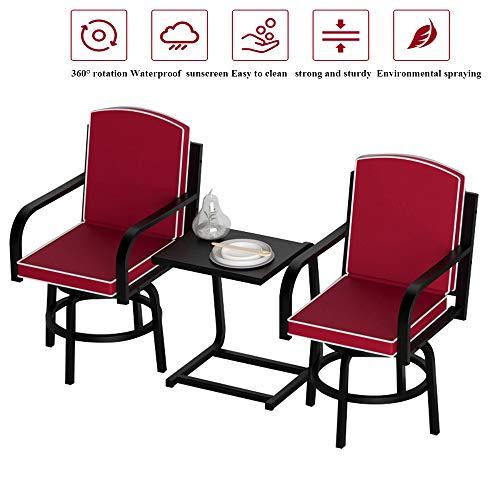 Conjunto de muebles de terraza y mesa de taburete de bar de 3 piezas al aire libre, 2 sillas giratorias y una mesa de metal. Para porches de jardín al aire libre Kit bistro de 3 piezas