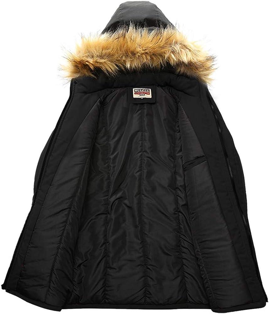 WULFUL Men/'s Warm Winter Coat Long Parka Anorak Jackets Thicken Padded with Detachable Fur Hood
