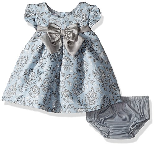 Bonnie Baby Baby Baby Girls Short Sleeved Brocade Float with Taffeta Bow, Blue, 24 Months