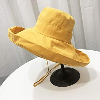 JYYYCWJ Sunshade Hat Foldable Summer Female Japanese Solid Color Big Fisherman Hat Outdoor Sunscreen Korean Version of The Wild Sun Hat