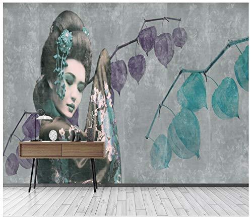 Murale Carta Da Parati Customization-Muro Di Cemento In Stile Giapponese Dipinto A Mano Muro Di Utensili In Geisha Materiale Giapponese, 300Cmx210Cm (118,1 X 82,7 In)