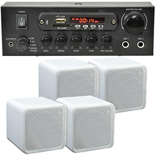 SMART HOME BLUETOOTH SPEAKER SYSTEM – 4x 80W White Bookshelf Speakers &...