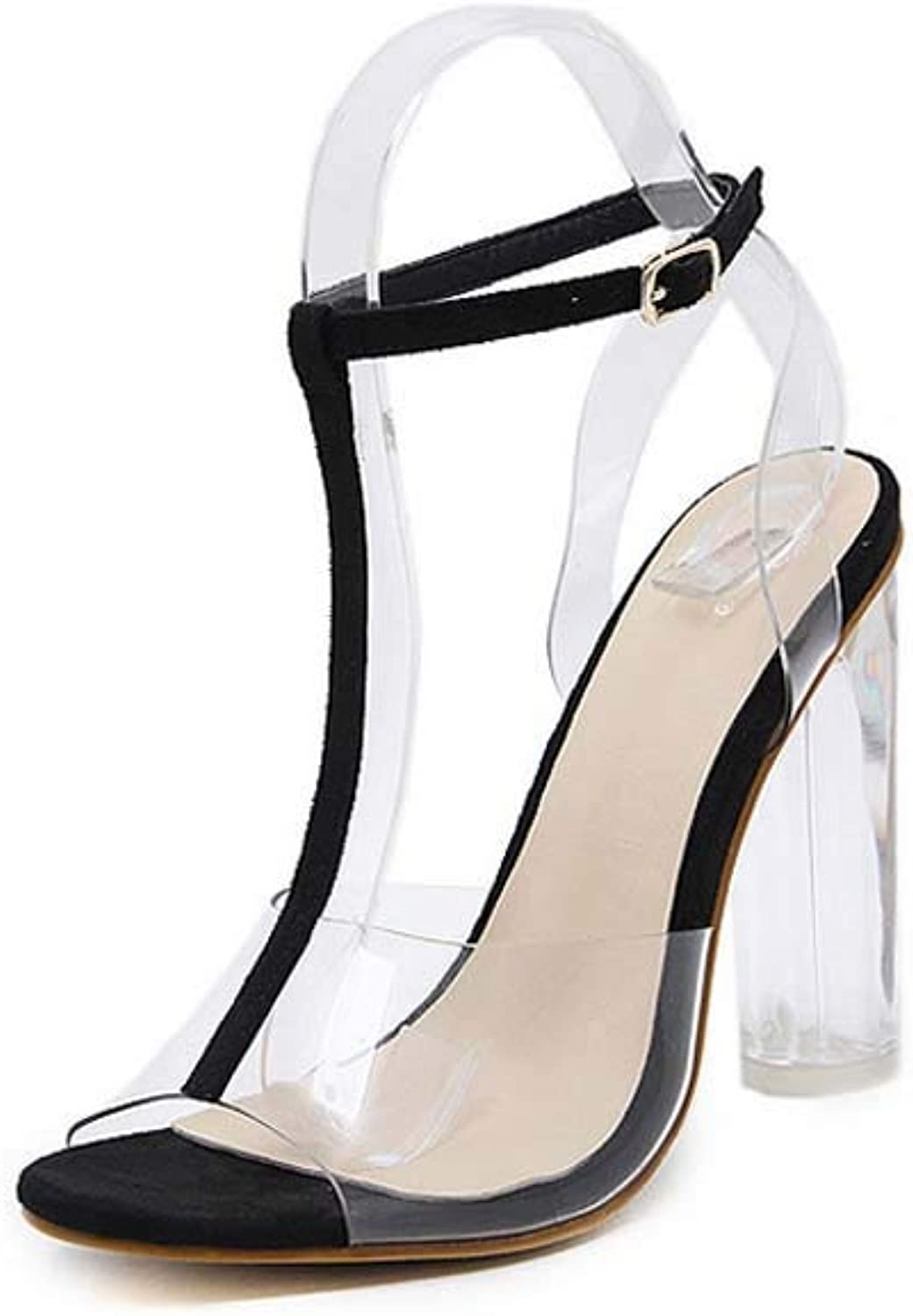 Spring Womens Transparent Open Toe Sandals,Fashion Pointed Pumps Perspex Block Heels Wedding,Dress,Party shoes