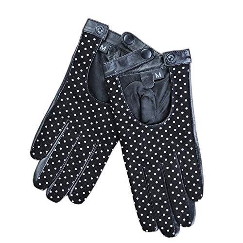 AiKoch Señora De Conducción Guantes De Cuero De Gamuza Primera Capa Otoño Y del Invierno Cold Protection (Color : Black, Gloves Size : L.)