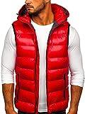BOLF Hombre Chaleco Acolchado con Capucha Cazadora Cierre de Cremallera Chaqueta sin Manga Cuello Elevado Estilo Deportivo Nature 6506 Rojo XL [1U1]