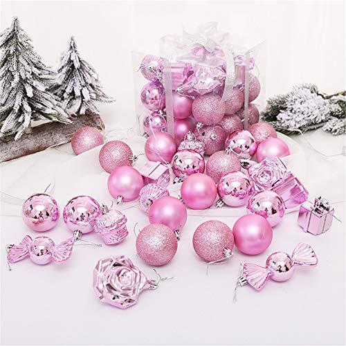 YSDNI Weihnachtsschmuck,28 Stück Weihnachtskugeln,gegenüberliegende Sexkugeln,Pink,5.5cm