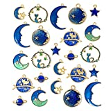 JIALEEY Assorted Gold Plated Enamel Cat Moon Star Celestial Charm Pendant DIY for Earrings Necklace Bracelet Jewelry Making and Crafting