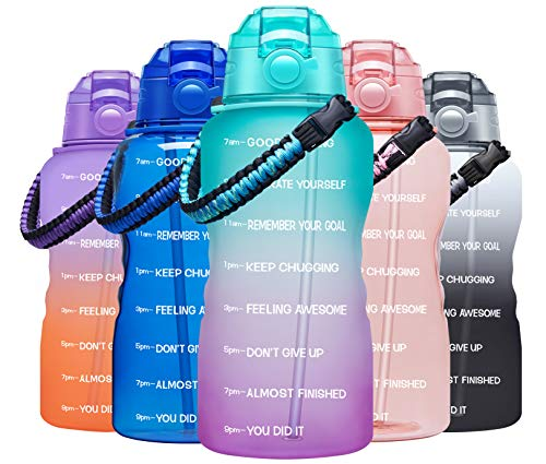 Fidus Large Half Gallon/64OZ Motivational Water Bottle with Paracord Handle & Removable Straw - BPA Free Leakproof Water Jug with Time Marker to Ensure You Drink Enough Water Daily