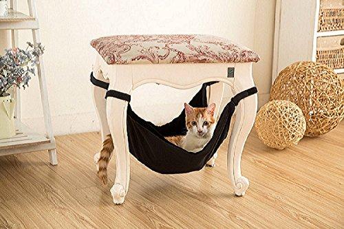 Kattenhangmat - Zacht Warm en Comfortabel Huisdier Hangmat Gebruik met Stoel voor Kitten, Fret, Puppy of Klein Huisdier (Zwart)