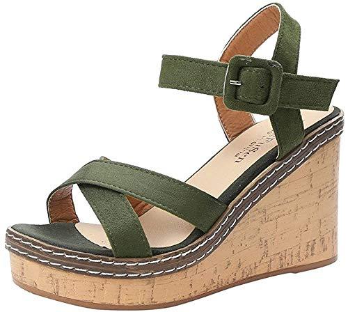 Chaussures à Talons Femme Sandales, Tongs Chaussures Compensées de Plage Mules Chausson Traversé Été Mode Loisirs Poisson Bouche Pantoufles ELECTRI (37, Vert)