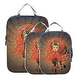 Bolsas organizadoras de equipaje Cute Cartoon Geisha con Japón Cubos de embalaje de viaje para viajes Cubos de embalaje expandibles para maletas para equipaje de mano, viajes (juego de 3)