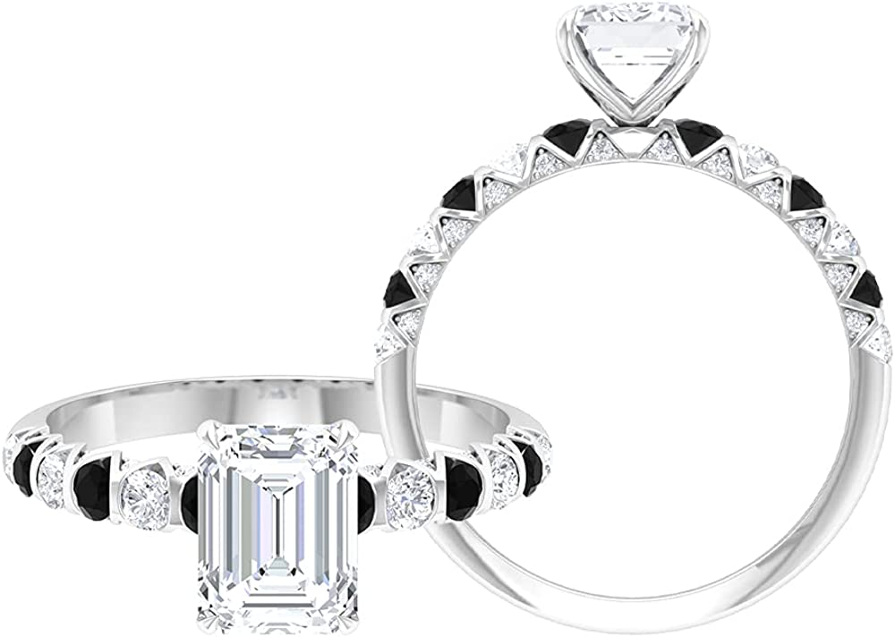 2.25 CT Octagon Cut Moissanite and Black Spinel Ring (D-VSSI Quality),14K White Gold,Moissanite,Size:US 8.50
