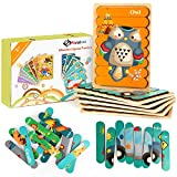 Fansteck Wooden Jigsaw Puzzles for Toddler, 6 Boards Sorting and Stacking Toys Peg Puzzles Animals & Transportation Preschool Learning Puzzles for Kids 3+ Years Old (12 Pictures & 48 Pieces)