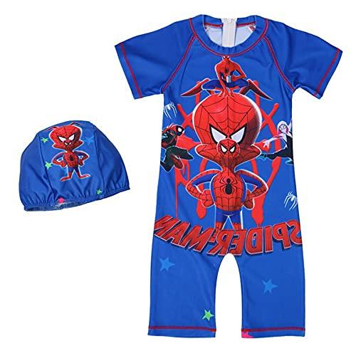 MYYLY Cosplay Garçon Spiderman Maillot De Bain Enfant Super-héros Short Hawaïen Manches Maillots Surfsuit Plage Vacances Tenue Sports Nautiques,Blue-M Kids (115~125CM)