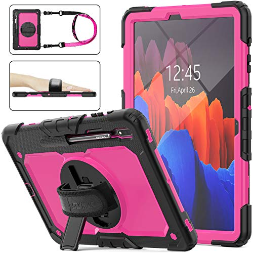 Galaxy Tab S7 Plus/S7+ Case 2020, SEYMAC Stock [Full-Body] Drop Proof Case with 360 Rotating Stand [Pencil Holder] [Screen Protector] Hand Strap for Samsung Galaxy Tab S7 Plus 12.4 Inch (Pink+Black)