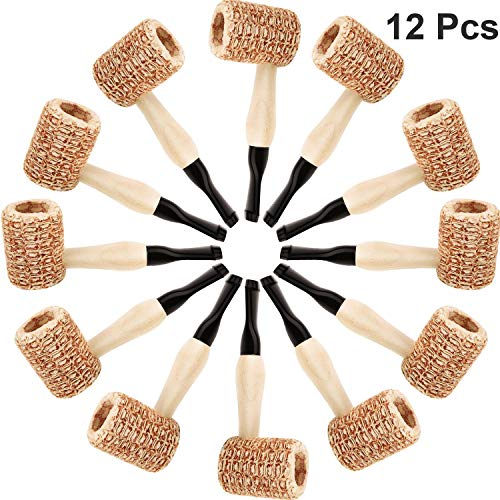 Syhood 12 Pieces Wooden Corn Cob Pipe Mini Fake Prop Pipe Halloween Corncob Pipe for Cosplay Party Favors