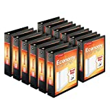 Cardinal Economy 3-Ring Binders, 2', Round Rings, Holds 475 Sheets, ClearVue Presentation View, Non-Stick, Black, Carton of 12 (90640)