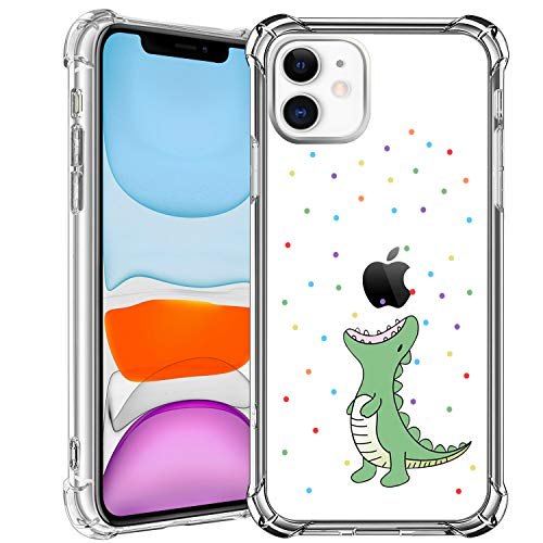 HBorna Case for iPhone 11, Soft Silicone Clear Cover for Women, with Design Floral Pattern, Slim Protective TPU Case for 2019 iPhone 11 6.1 Inch, Dinosaur