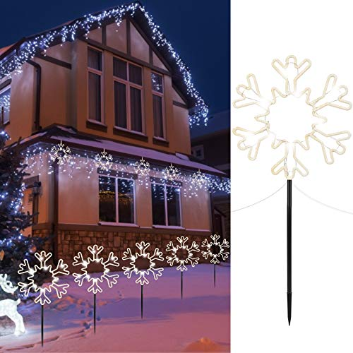 """Minetom 8.5"""" Christmas Pathway Stake Lights Outdoor 5 Pack 8 Feet 60 LED Fairy Lights Battery Operated Waterproof Snowflake Landscape Lights for Xmas Indoor Party Decorations, Pure White"""