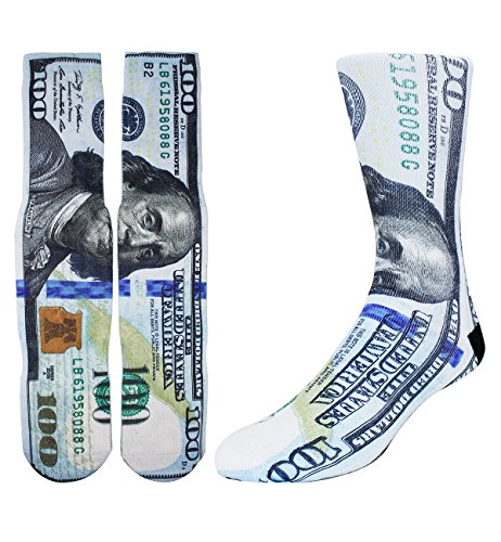 Zmart Men's Novelty Funny 3D Dollar Money Print Athletic Sports Crew Tube Socks