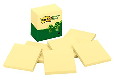 Post-it Greener Notes, 3 in x 3 in, 6 Pads, America's #1 Favorite Sticky Notes, Canary Yellow, Clean Removal, 100% Recycled Material (5416-RP-Y)