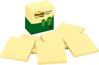 Post-it Greener Notes, America's #1 Favorite Sticky Note, 3 x 3-Inches, Canary Yellow, 6-Pads/Pack