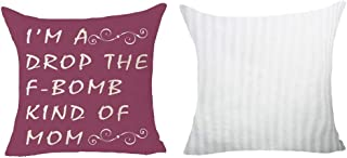 Set Of 2 Happy Mothers Day Best Gift For Mom Saying I'm A Drop The F-bomb Kind Of Mom Purple Pattern Pillows Cotton Linen Decorative Home Office Throw Pillow Case Couch Cushion Cover 18X18 Inches