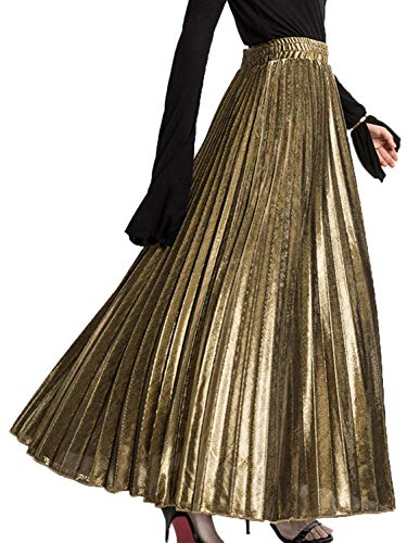 PERSUN Women's Metallic Shiny Accordion Pleated Casual Party Long Maxi Skirt (Large, Sparkling-Gold)