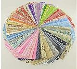 E-More 70 unidades por lote de tela de algodón con estampados florales para manualidades (9.4 x 9.4inch), diseños no repetidos, tela de costura para manualidades