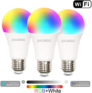 Smart Light Bulb,WiFi Bulb,Multicolored LED Bulbs,Dimamble,E26,Free APP Remote Controlled Home lamp,Compatible with Alexa & Echo & Google Assistant 7W 3-Pack
