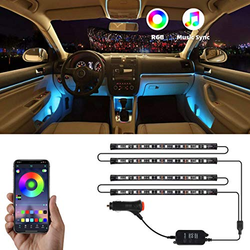 Interior Car Lights, NDDI 4pcs 48 LED DC 12V Interior Car Lights Bluetooth App Control Lighting Kits Multi Color Music with Car Charger Sound Active Function for Smart Phone